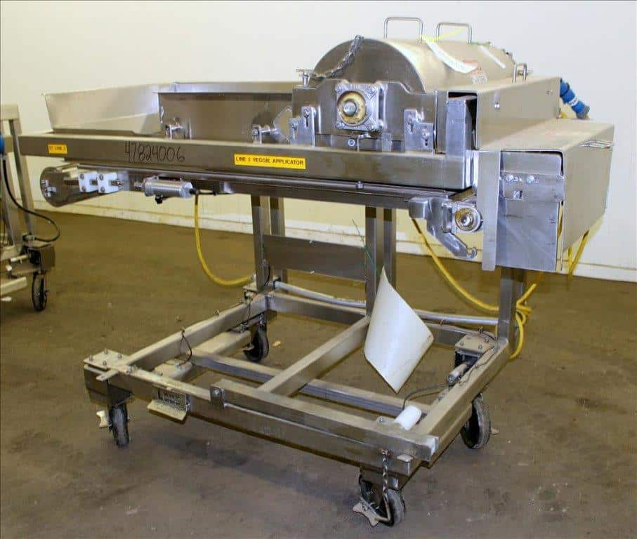 Waterfall Cheese/Applicator for Pizza, 304 Stainless Steel. Has 28″ wide x 60″ long belt conveyor driven by a 1/2hp, 3/60/208-230/460 volt, 1725 rpm washguard gear motor (no ratio). Approximate 18″ diameter x 26-1/2″ long carousel driven by a 1/2hp, 3/60/230/460 volt, 1700 rpm gear motor, 28.09 to 1 ratio (motor fan guard has damage). Approximate 4″ diameter x 26-1/2″ long pinwheel driven by a 1/2hp, 3/60/208-230/460 volt, 1725 rpm gear motor (no ratio). Mounted on a stainless steel frame. No manufactures tag. Not equipped with any controls (Located in Chicago)***MDGAEK***