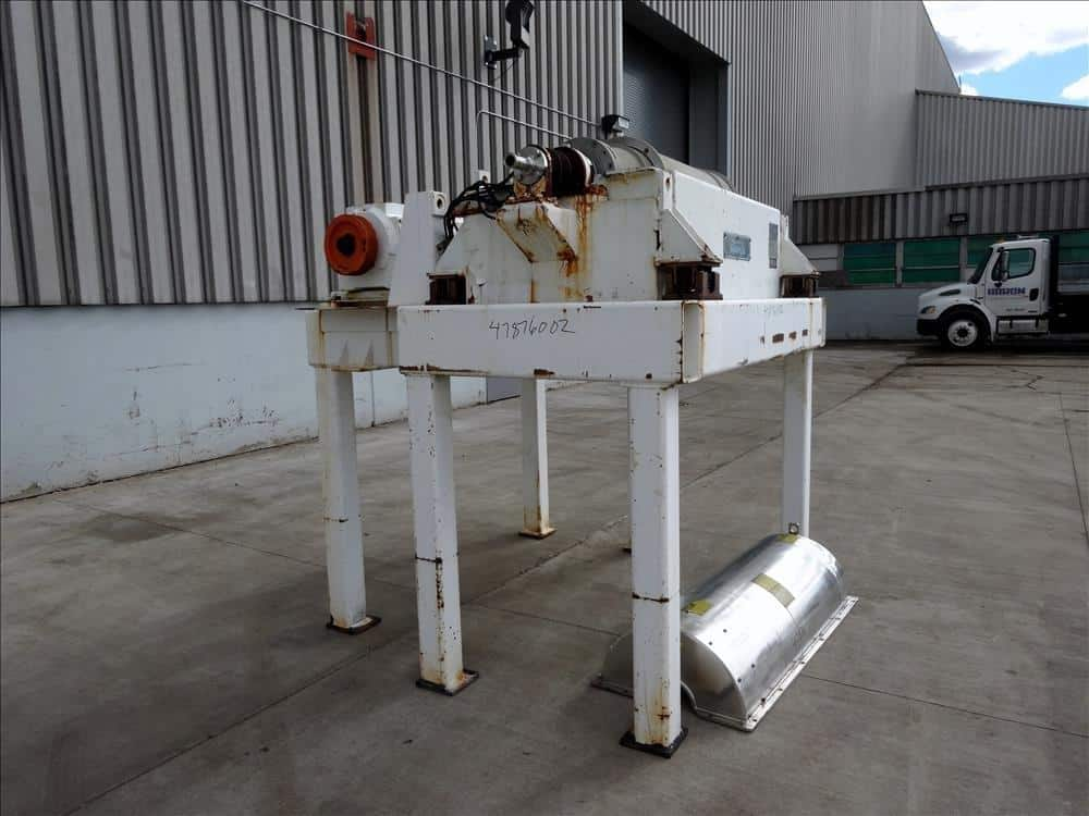 Sharples P-3400HHS Super-D-Canter Centrifuge, 316 stainless Steel construction (product contact areas), max bowl speed 5000 RPM. single lead conveyor, 360 degrees solids discharge ports with replaceable wear inserts, (missing liquid dam plates), base, casing, gearbox 95:1 ratio, feed pipe, DC Main drive motor, 15 hp DC backdrive motor, mount on approx: 4′ stand with pane (Located in Chicago)***MDGAEK***