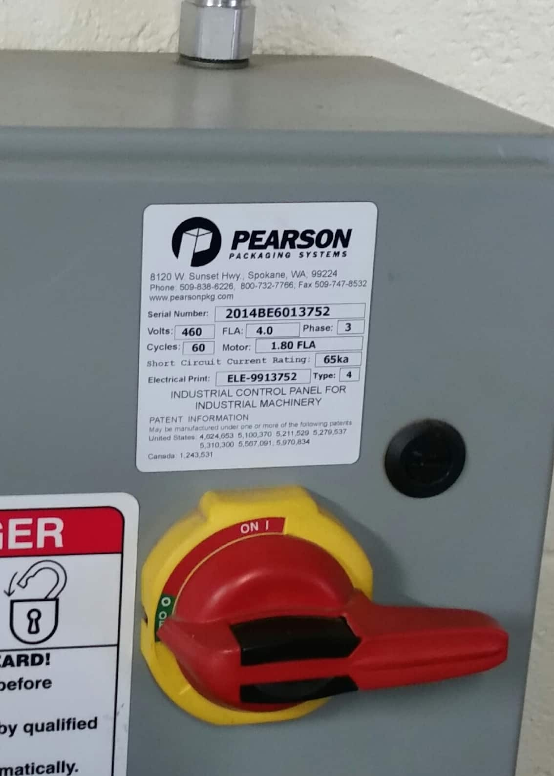2014 Pearson 6-Pack Erector, Model BE60, S/N 2014BE6013752, 460 V (More Information Coming Soon)