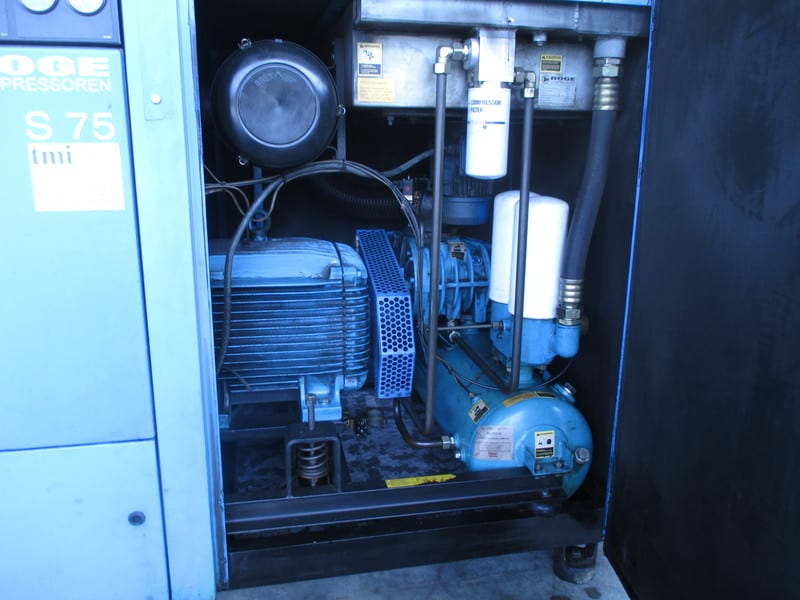 Boge - Air cooled Air compressor, Boge Ratiotronics, F.a.d. 322 CFM, Max service pressure 115 PSIG, Motor speed 3600 RPM, 75 HP, Model: S 75, Serial Number: 36051