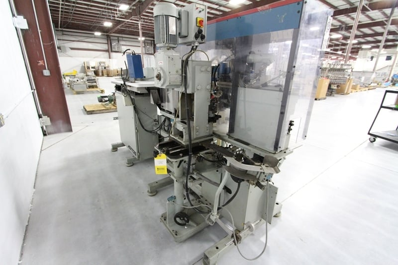 Artos CS600 Wire Stripper/Crimper, Strips the ends off wire and crimps on a terminal, (2) crimp presses w/ Eurodrive motors, Model: TU8M 96, Serial Number: 51243-003