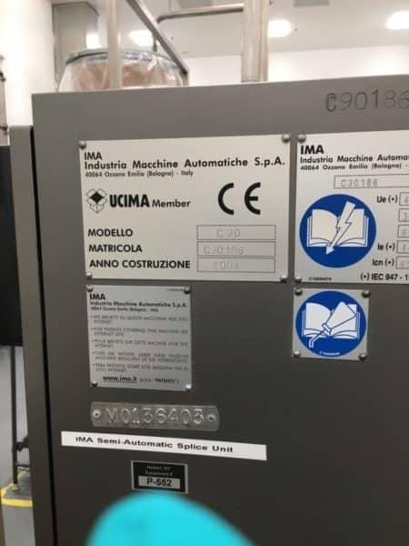 2004 Complete IMA C90 Blister Packaging & Cartoning Line with ESAB Insert Printer