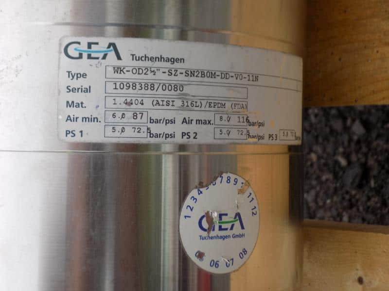 "GEA 2-1/2"" 3-Way S/S Air Valve,Type: WK-OD21/2""-SZ-SN2OM-DO-VO-11N,S/N 109838870080, Bar 8.0, DIN 50"