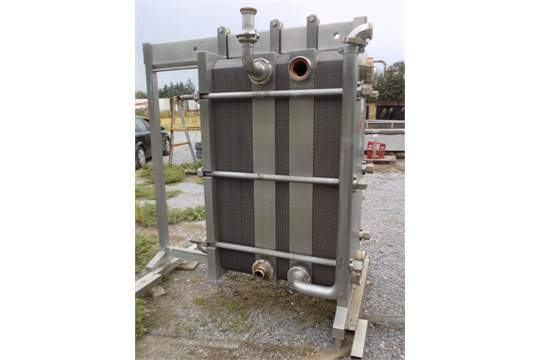 P. Fisher Plate Heat Exchanger, S/N 91227 with BAR 12, (3) Sections with (32) S/S Plates 1st Section, (16) S/S Plates 2nd Section and (53) S/S Plates 3rd Section, and Inlets and Outlets, DN130 (NOTE: Previously Utilized On Yogurt)