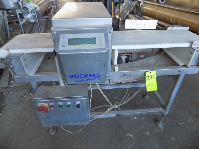 Boekels Aprox. 230 cm L x 30 cm W Metal Detector, S/N PRD-12445-01 with Aprox. 10 cm H x 35 cm W Product Opening and Reject Unit