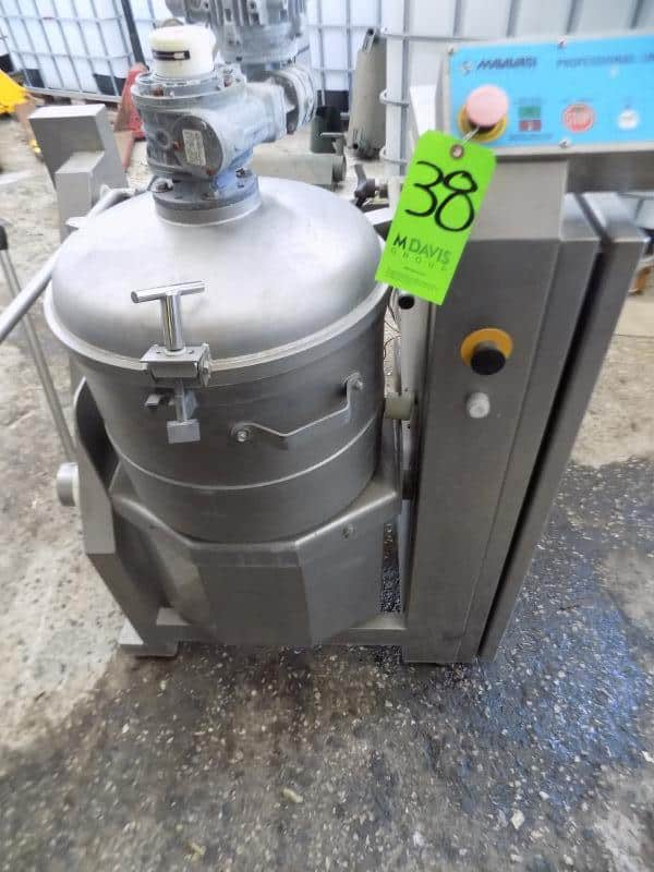 2004 Malavasi High Shear S/S Cutter/Mixer/Blender, Model P40 with Scraper Blade Inside Bowl, Manual Handle to Tip Over Blended Product and Control Panel, 8 KW