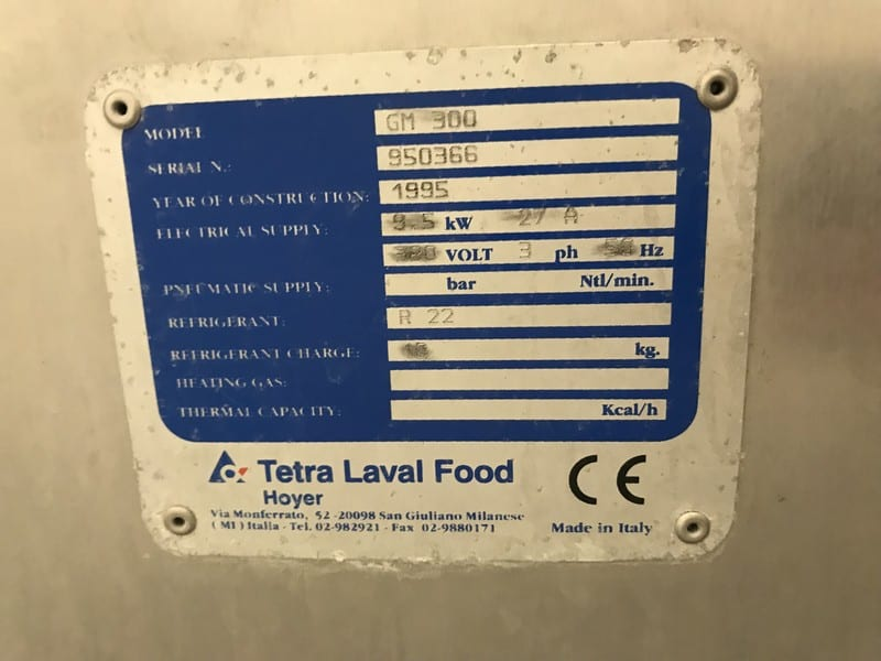 Tetra Laval Food/Hoyer 300 Litre/Hr. – 79 Gal./Hr. Ice Cream Freezer, Model GM300, S/N 950366 with R22 Refrigerant, 9.5 KW Motor, 380 V, 3 Phase