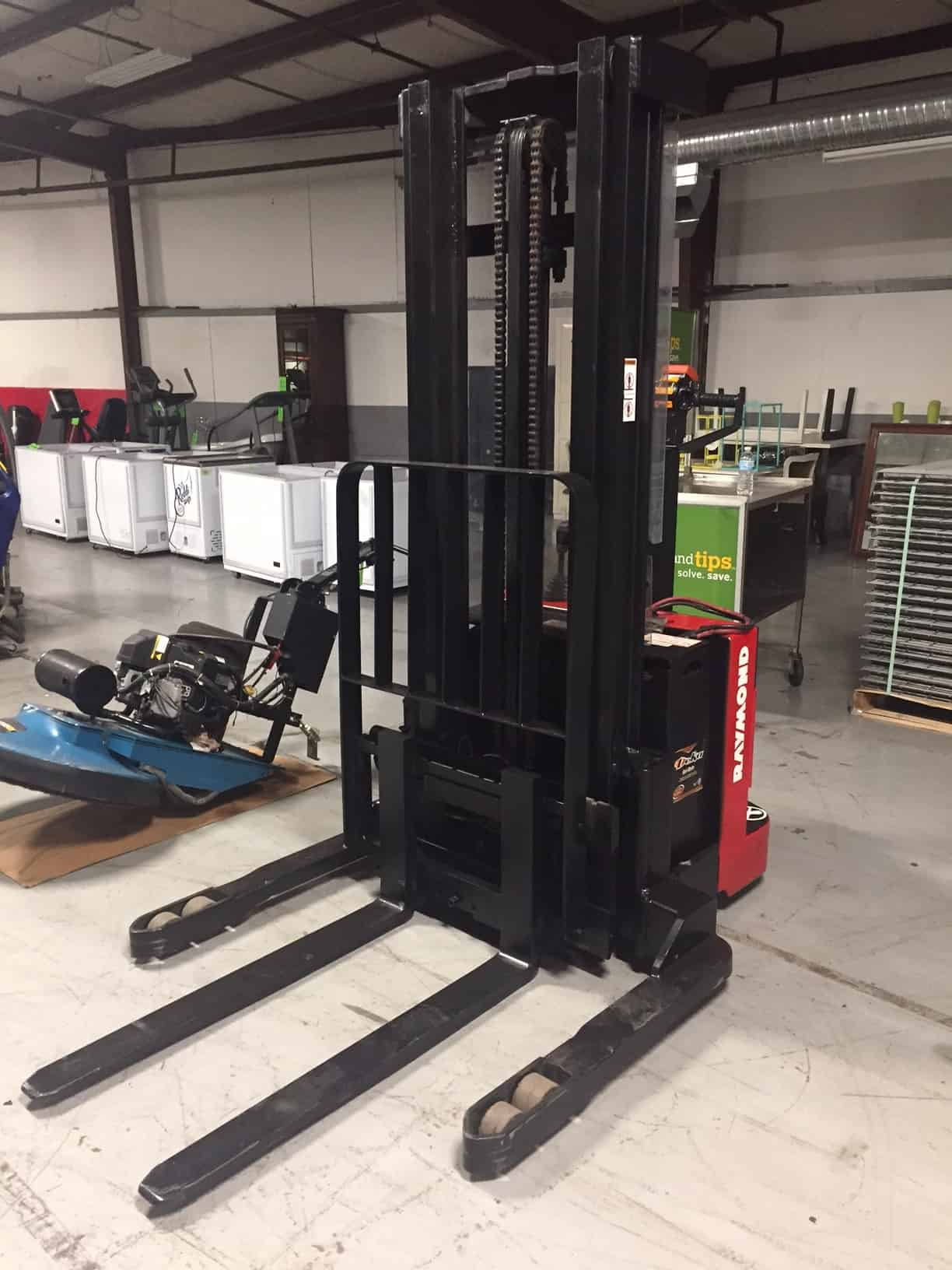 "Raymond 3,750 lb. Walk Behind Forklift, Walkie Stacker, Model RSS40, S/N RSS40-03-01418, Pallet Stacker, 24 V with Side Shift, 2-Stage 128"" H Lift, 5,223.3 Hours, Very Good Operating Condition (Located in Pittsburgh)"