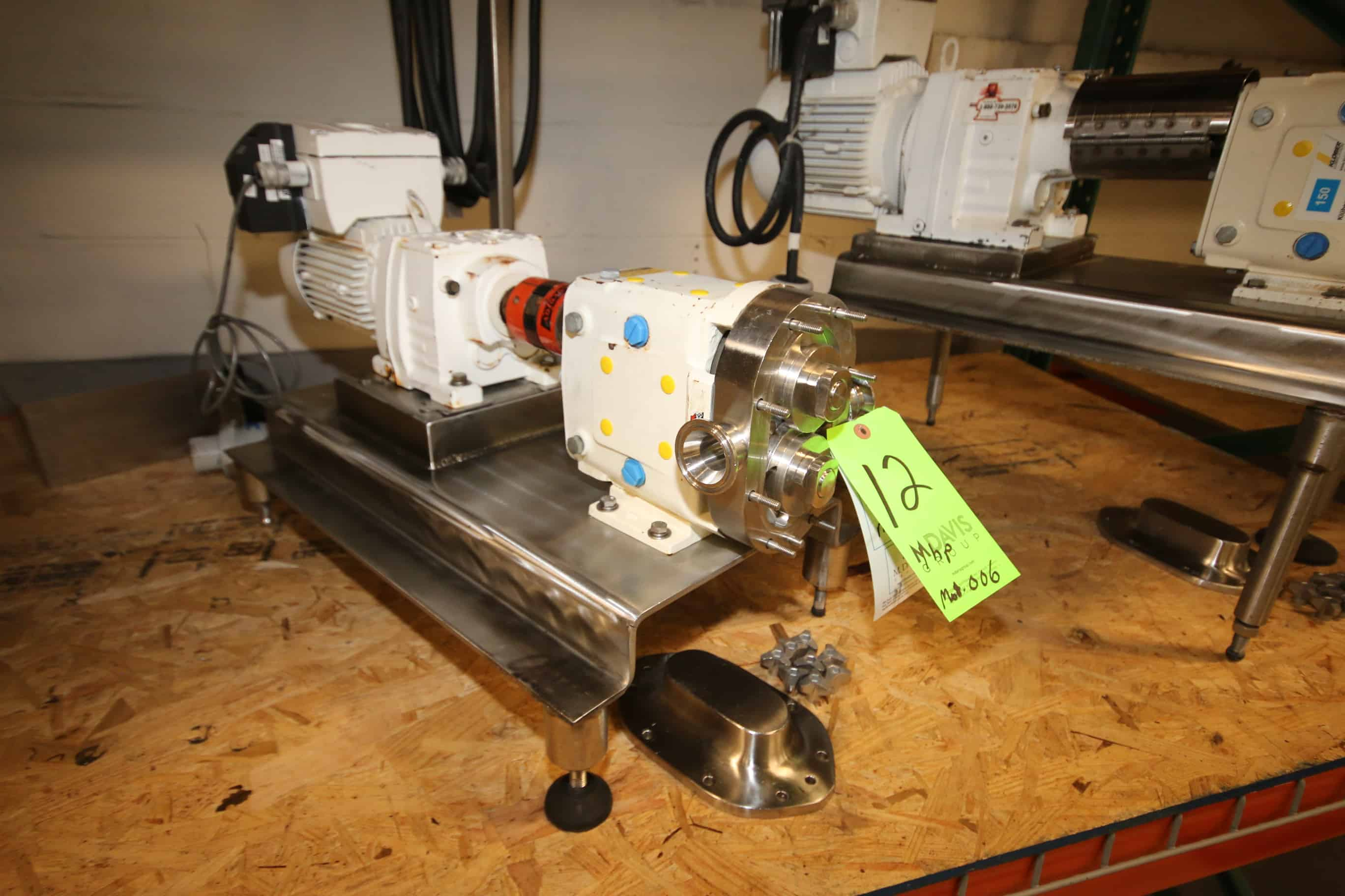 Waukesha-Cherry Burrell 1 hp Positive Displacement Pump, Model 006, S/N 261902-00 with 1-1/2″ Clamp Type S/S Head, SEW Drive 195 – 1700 RPM Motor and Onboard VFD, 460Y V, 3 Phase, Mounted on S/S Frame (Located in Pittsburgh)