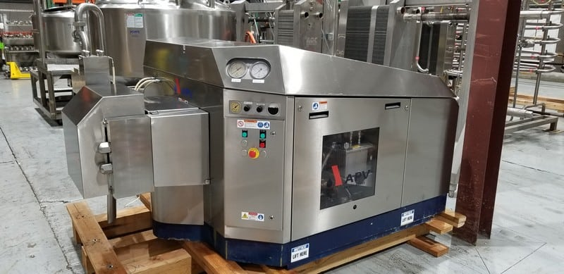 HOMOGENIZERS, M. Davis Group Showroom Auction 2010 APV Gaulin 3,000 GPH @ 200 psi 2-Stage 3-Piston S/S Clad Homogenizer, Model G110T-75P, S/N 113561/J3-10.428 with 75 hp 1780 RPM Motor