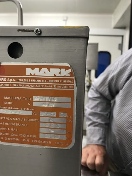 Mark Continuous Ice Cream Freezer, Model Gelmark 160, S/N 481 with R22 Refrigerant, 6 KW, 380 V