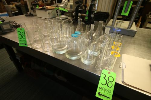 Assorted Lab Glassware, Includes Cylinders, Beakers, Erlenmeyer Flasks, Plates, and Other Glassware