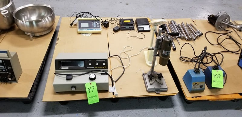 Assorted Lab Equipment on One Pallet includes Milton Roy Spectronic 20D Concentration/Factor, S/N 3322106012; Beckman 40 pH Meter, Model PH140, Cat #123118; Nalbach Capper, S/N 36507; Weight Max Digital and Sunbeam Scales and Desk-Top Magnifying Glass