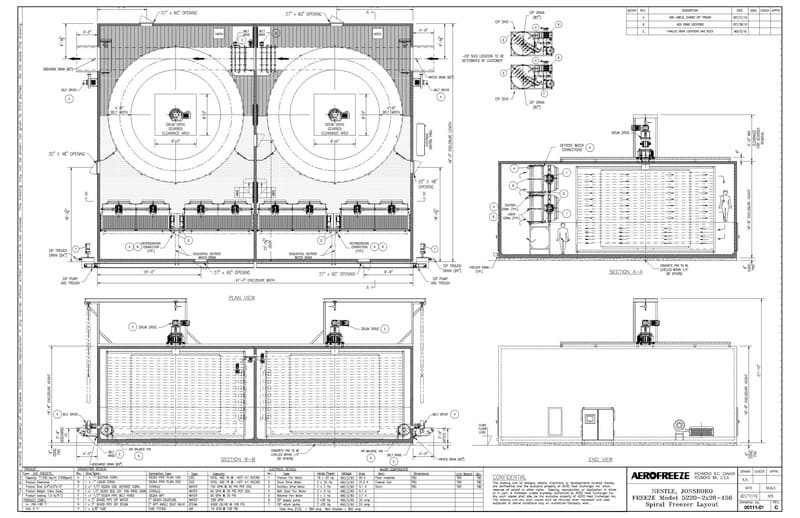 """2010 NEW GEA Aerofreeze US Double Barrel Spiral Freezer, Model 5220-2x26-156, S/N NA, 17,250 LBS/HR, Overall Dimensions 732"""" L x 552"""" W x 224"""" H (Never Installed Due to Project Cancellation. Coils Not Included As They Were Never Built Due to Project Cancelation. Located in Seattle)"""