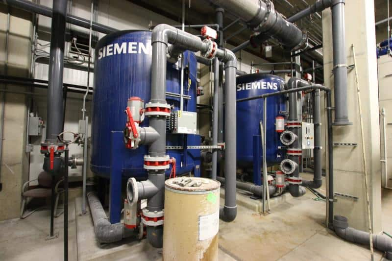 (3) Siemens Skid-Mounted Carbon Filter Triplex Softener Tanks, Model CSTM PTISPTN72x72, S/N 1200/0006-02, 1200/0006-02 & 1200/0006-03 with Pumps & Flow Monitor Control Systems by Mettler Toledo