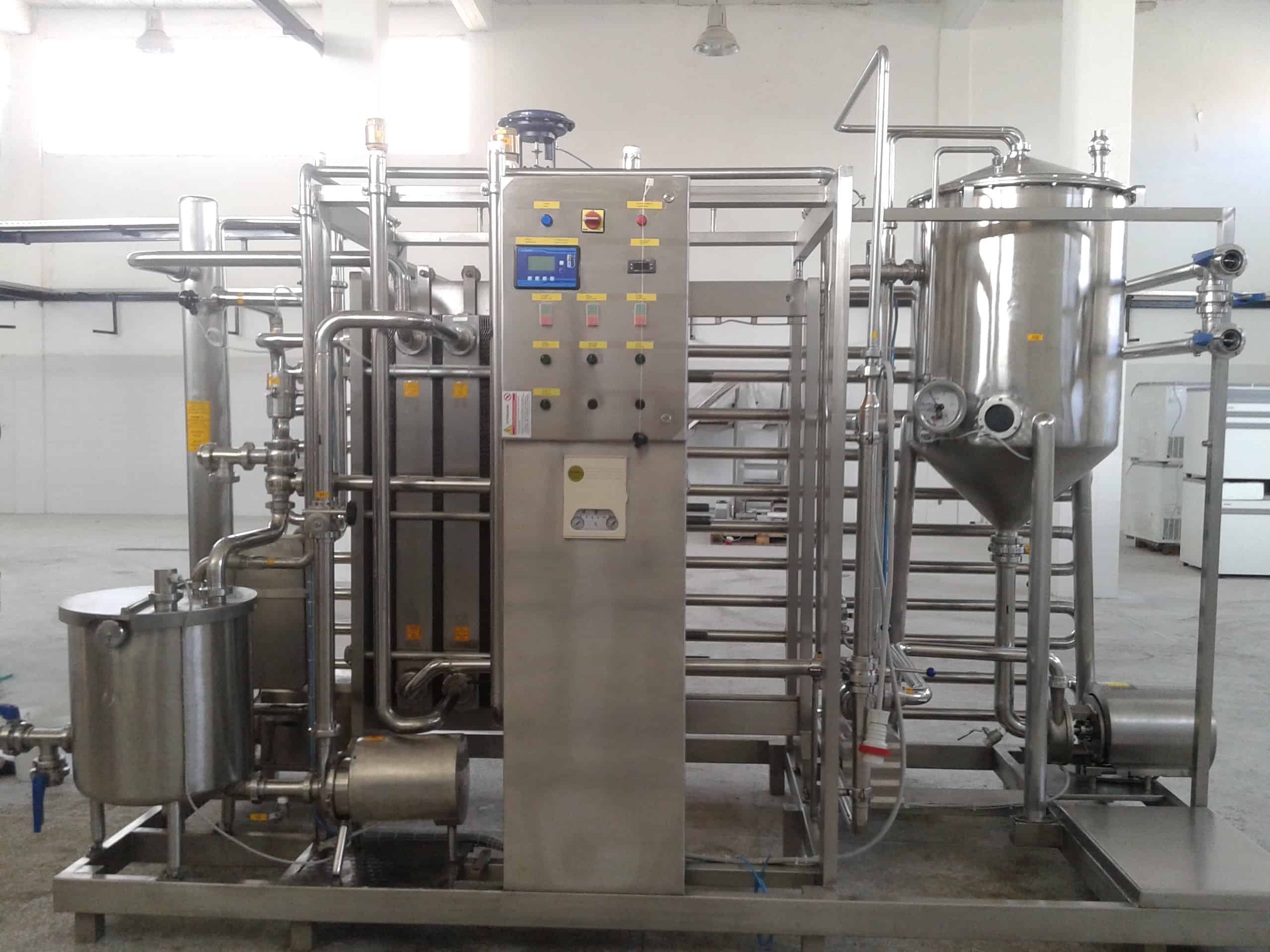 NEW Rizzi Inox 10,000 Liter/Hr Skid-Mounted Pasteurizer, with Plate Frame Heat Exchanger, Nested Holding Tubes, Flow Diversion Valve, Balance Tank, (2) Centrifugal Pumps, S/S Control Cabinet with Digital Touch Pad Operator Interface, Associated Valves & Fittings, Plate Frame Heat Exchanger Equipped with 3-Divders, Product Heated from 4-36 Degrees Celsius