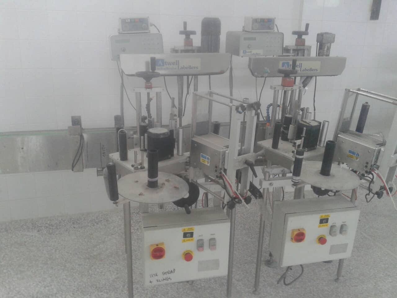(2) Atwell In-line Roll-Fed Pressure Sensitive Labeler