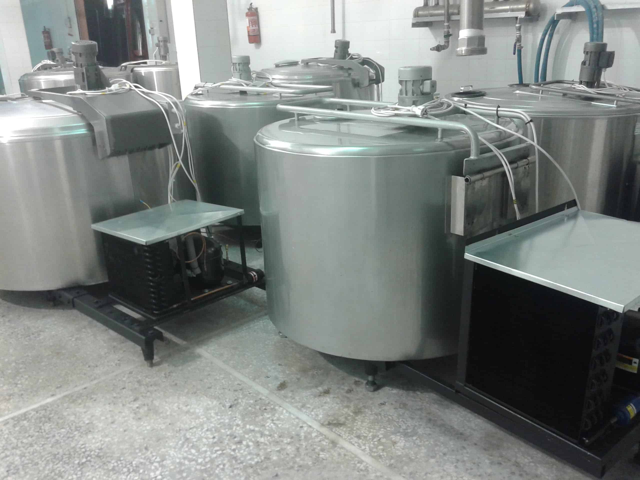 (8) 450-650 Liter Milk Cooling Tanks, Jacketed with On-Board Compressors, 220V