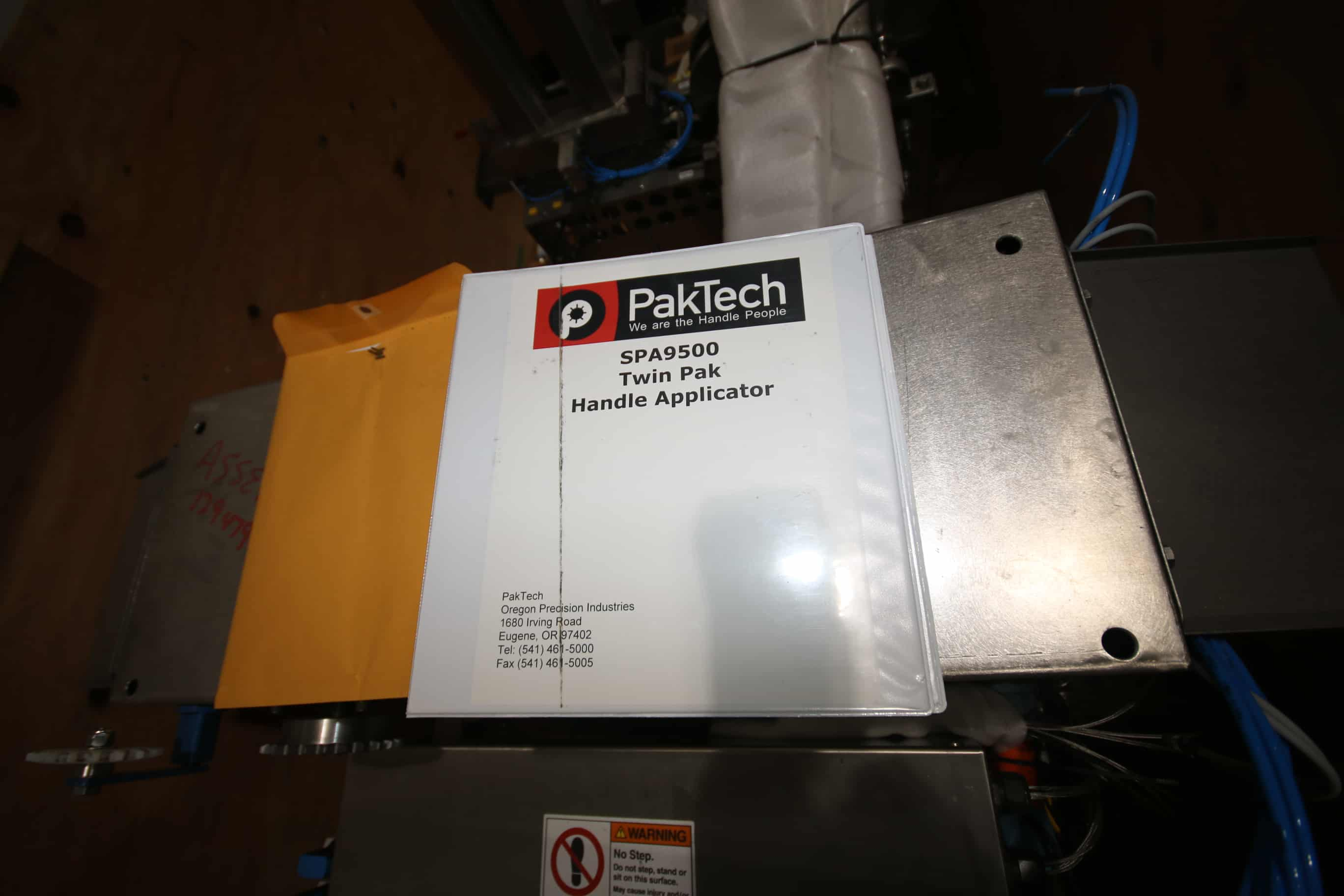 2013 Pak Tech Twin Pak Handle Applicator System, Model SPA9500, S/N SPA9500-01-08 with Allen Bradley Compact Logix PLC Controls, 240 V, 3 Phase Allen Bradley 4M VFD and Spare Parts (Crated)