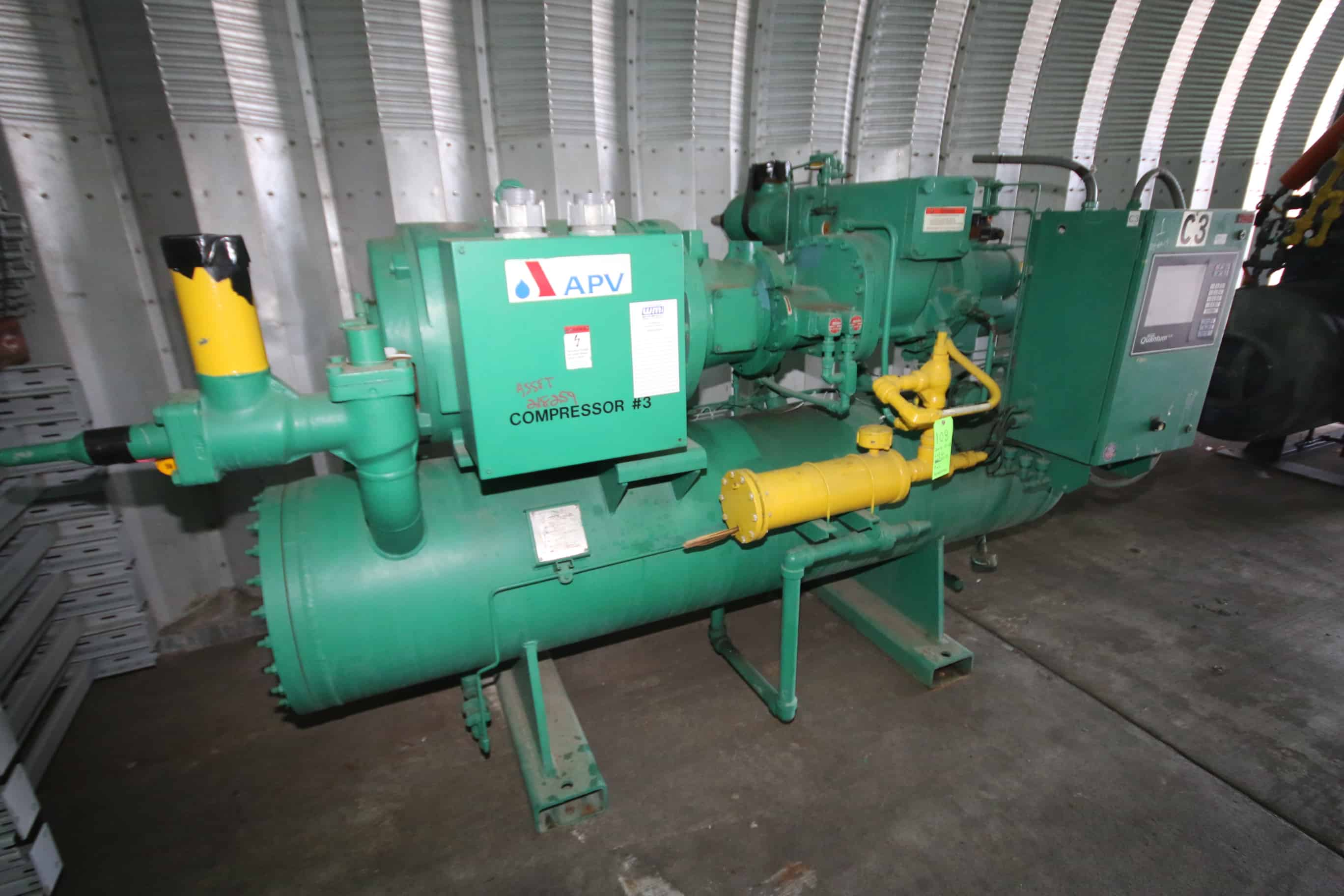 "2000 Frick 263 hp Screw Ammonia Compressor, Model RXF101H, S/N 0224UFMNLHAA03, Frick Sales #21290401000 with 300 psig, Ram 3560 RPM Motor, 460 V, 3 Phase, Frick Quantum LX Touchpad Display and Control Panel (Overall Dimensions Aprox. 10 ft. L x 67"" W x 72"" H)"