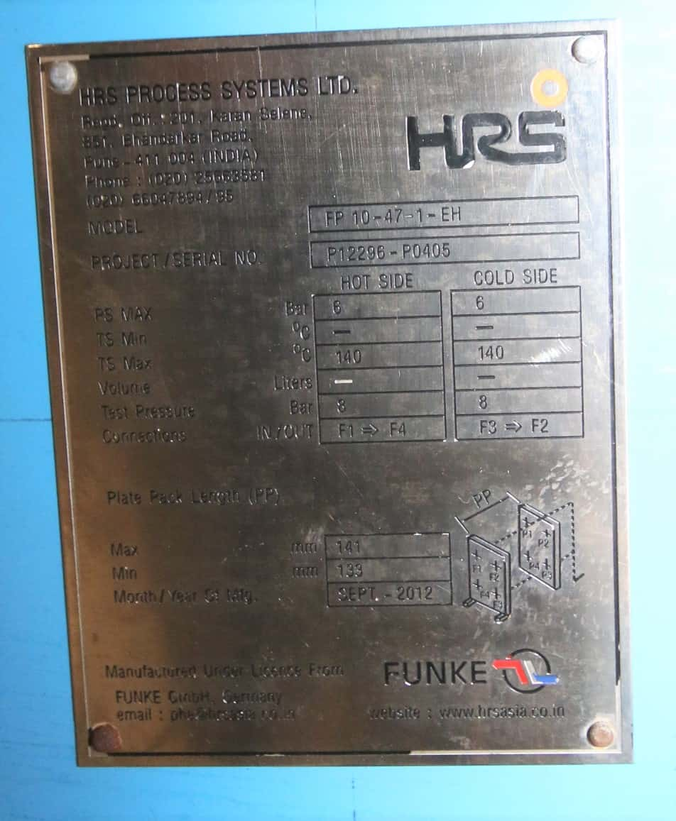 "2012 HRS Skid Mounted S/S Plate Heat Exchanger, Model FP 10 - 47 - 1 - EH, S/N P12296-P0405 with On-Board Temp Controls, 2"" Connections with Ball Valves & Control Valve"