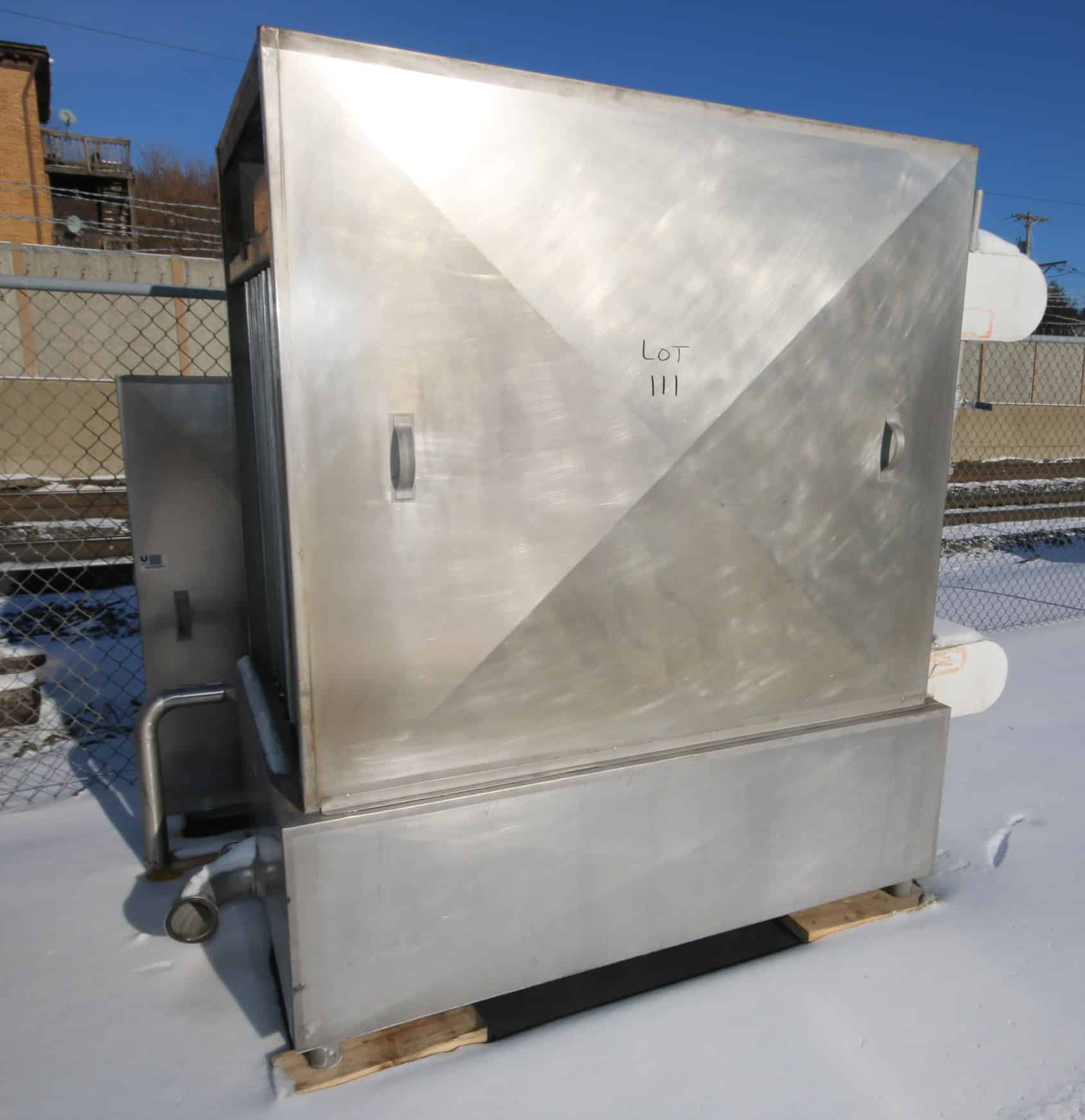 "Chester Jensen S/S Falling Film Plate Chiller, B-8OT-8-32, S/N 9063-P, Ammonia Refrigerated, All S/S, (8) Plates (Overall Dimensions Aprox. 49"" W x 7 ft. L x 83"" H) (Formerly Used for Cooling HTST System)"