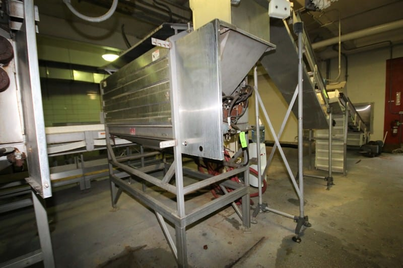 Lyco Peeler / Washer, Model 11000, S/N  P039811428I, with Set up for (9) Roller Positions, (Note: Brushes Removed), S/S Screw Auger, All Hydraulic Driven, Water Spray Heads, S/S Enclosed Covers, Mounted on S/S Frame with Mounted Operators Platform