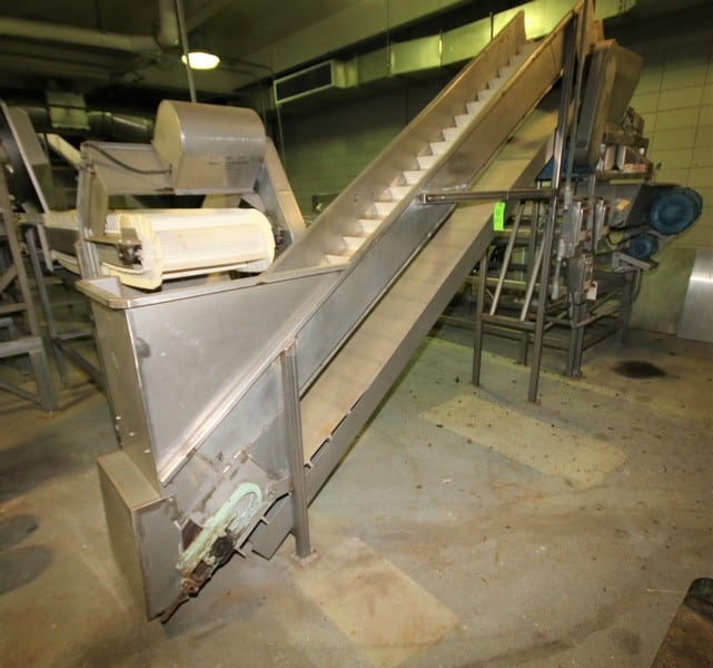 "S/S Inclined Belt Conveyor System with 18"" W Belt with 6"" Flights, Siderails, Drain Pan, Variable Speed Electric Drive, up to 93"" Leg Supports"