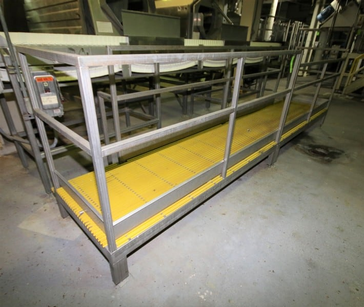 "~16 ft, L x 34"" W x 17"" H S/S Inspection / Operators Platform with Plastic Grating & Handrail"