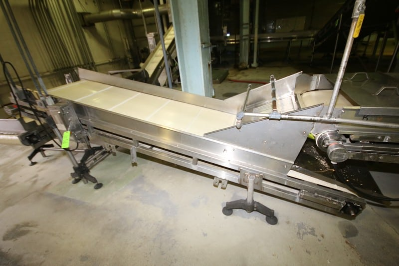"~11 ft. 7"" L S/S Inclined Inspection Conveyor System, with 34"" W Belt with 18"" Flights, S/S Siderails, Sparks Dura Drive Power Roller, up to 36"" H Leg Supports & Square D Switch"