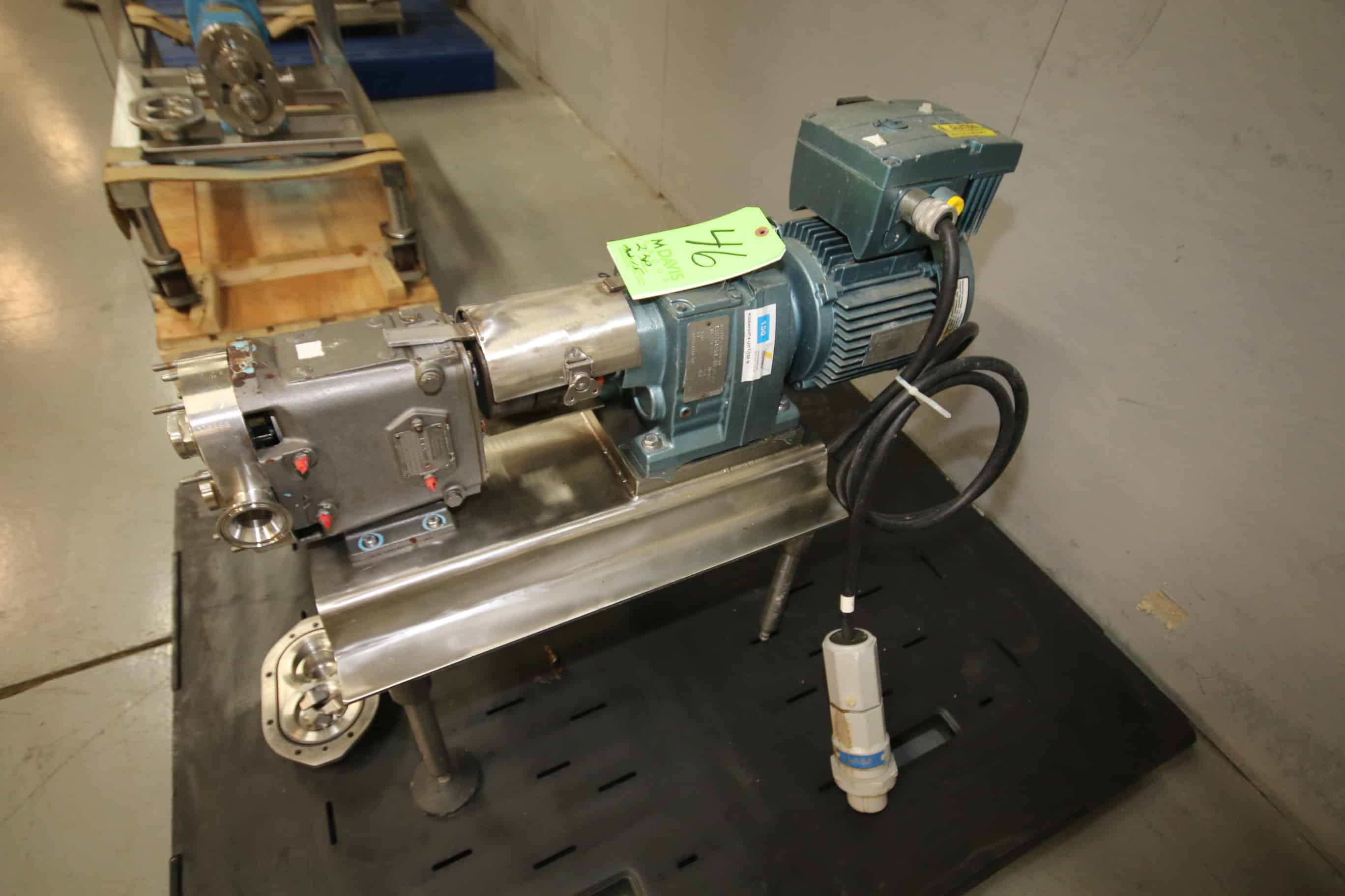 "Waukesha/Cherry Burrell Positive Displacement Pump, Model 15, S/N 116185 with 1-1/2"" x 1-1/2"" Clamp Type S/S Head, Mobilgear 630 Gear Ratio 5.64, Sew 2 hp Drive Motor, 213-1720 RPM, 460Y V, 3 Phase, Mounted on S/S Frame"