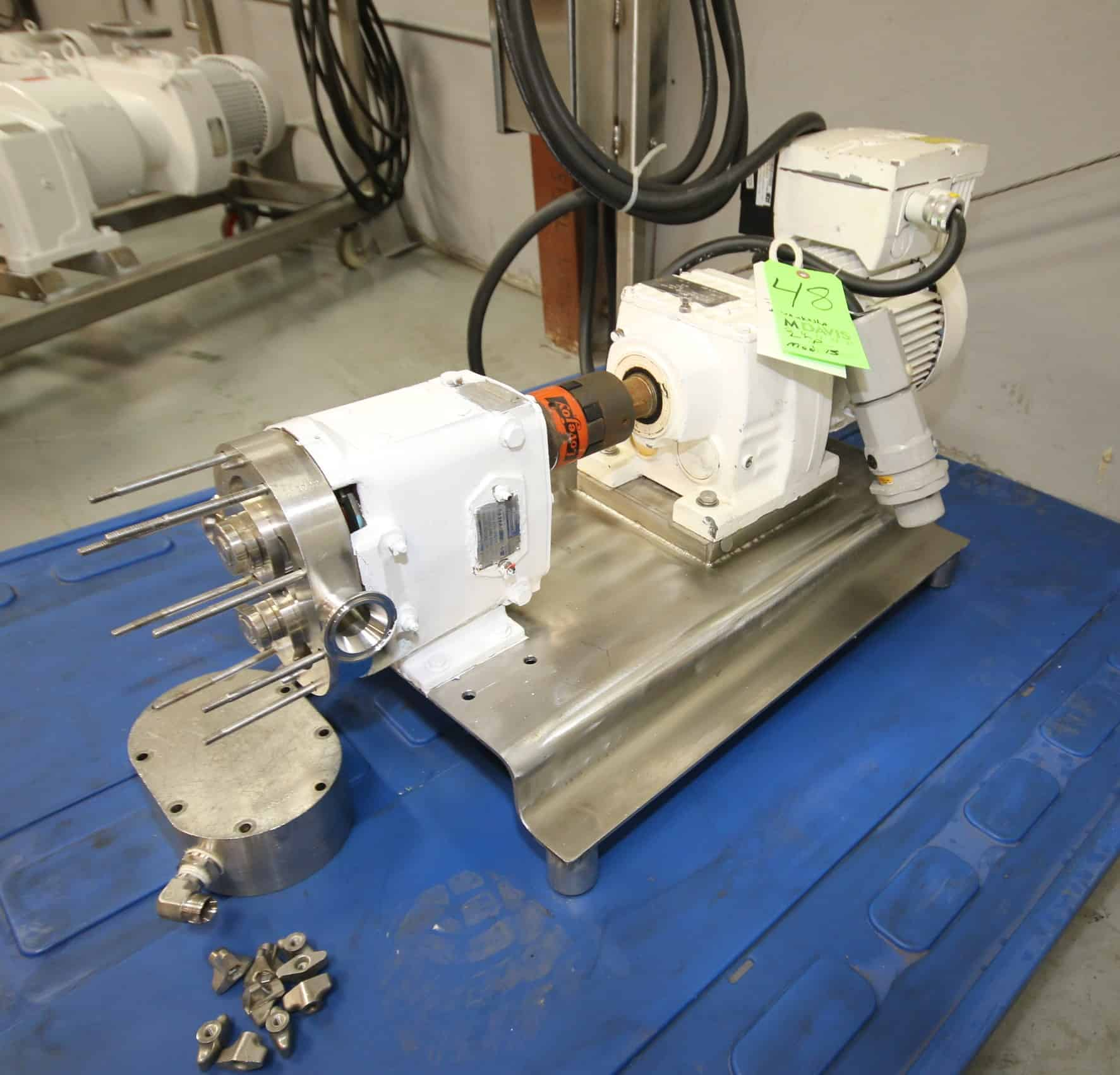 "Waukesha Positive Displacement Pump, Model 15, S/N 123722 with 1-1/2"" x 1-1/2"" Clamp Type S/S Jacketed Head with Cooling Capabilities, Mobilgear 630 Gear Ratio 21.93, 213 - 1720 Gear, Sew-Eurodrive 2 hp Drive Motor, 218-1720 RPM, 460Y V, 3 Phase, Onboard VFD Controller, Mounted on S/S Frame"