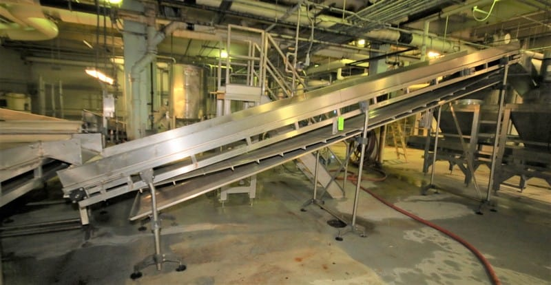 "~22 ft. L S/S Inclined Conveyor System, with 34"" W Belt with 12"" Flights, S/S Siderails, Bottom Drain Pan, Sparks Dura Drive Power Roller, up to 8 ft. 6"" H Leg Supports & Square D Switch, (Feeding Squash Cutters)"