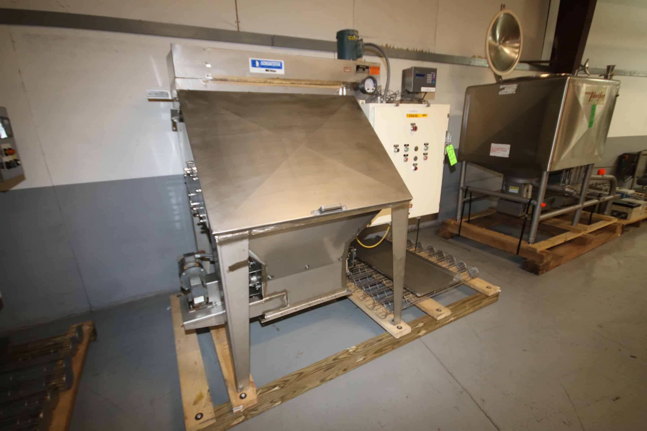 "Young Industries S/S Skid-Mounted Self-Contained Filter/Bag Dump Station with Onboard 8-Bag Dust Collection System, Size 42-8, Model UNITMI-1010, Shop #12618-1, S/N FBD-1549, Aprox. 45"" Opening x 24"" W x 28"" Deep, Safety Guard, Screen Conveyor Discharge, Onboard Mettler Toledo Lynx Scale with Digital Read-Out, Controls including Allen Bradley 30 Amp Line Terminal Guard, Cat #1494V-DS30, (2) Square D Nema Size 1 Starters, Fuses, Industrial Control 1 KVA Transformer, 480 V, 3 Phase, Reliance 1.5 hp Motor, 3450 RPM and Baldor .75 hp Motor, 1725 RPM, 208-230/460 V, 3 Phase with Winsmith Model 920MWT Speed Reducer with 30 Ratio"