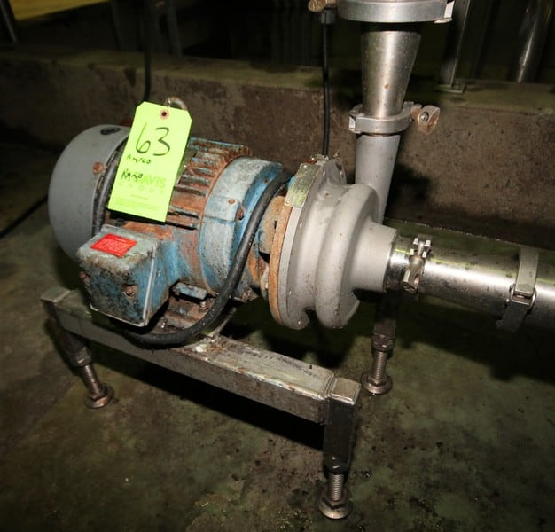 "Ampco 5 hp Centrifugal Pump, Model DC2, with 2-1/2"" x 2"" Clamp Type S/S Head, Marathon 3460 RPM Motor, Mounted on S/S Stand"