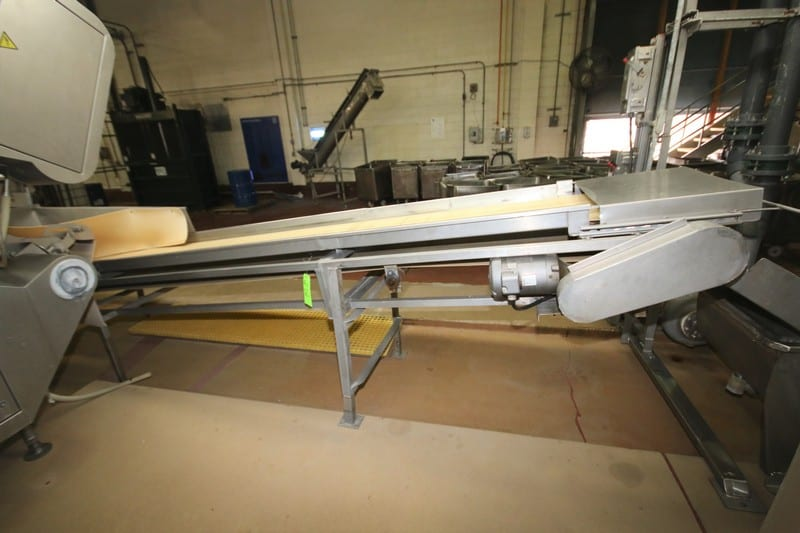 """16 ft L Inclined S/S Belt Conveyor System with 24"""" W Belt, 1 hp Electric Drive Motor, S/S Side Rails, up to 3 ft H Leg Supports, (Out-Feeding Tegra Sorter) """