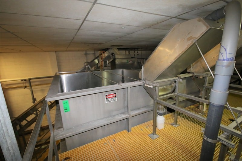 "Chapman Corp. 14 ft 4"" H x 9 ft 6"" W x 9 ft 6"" L x All S/S Cone Bottom Vegetable Accumulation Hopper, Order No. 05362, Project No. 51448, Mounted on Weigh-Tronix Digital Load Cells with SAI Model 530 Digital Read-Out, 6 ft L Dual Bottom Auger Conveyor with Electric Drive Motors, S/S Support Legs, 4 ft 7"" L Infeed Separator Chute, Top Sprayer Manifold, (Interior Diam. 8 ft 5""W x 8 ft 5"" L x 10 ft 4"" H), (North System)"