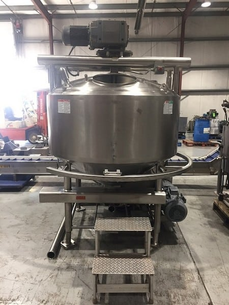 After 1-1APV 400 Gal. Dome-Top Cone-Bottom S/S Processor,  National Board #9827, S/N K2499 with Bottom and Side Scrape Agitator with SEW Aprox. 5 hp Drive Motor, Baffle, Sprayball, Jacket MAWP 75 psi @ 350 Degree F, Jacket MDMT -20 Degree @ 75 psi with Bottom Mounted Onboard APV Positive Displacement Pump, Size R+4R1HD, S/N P-0333-0299 with Reliance 10 hp Drive Motor, 1755 RPM, 240/460 V, 3 Phase, Some Onboard Controls including Allen Bradley Starter Controls (316L S/S)
