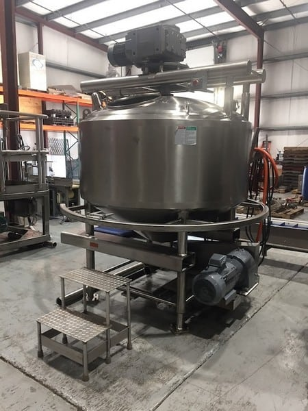 APV 400 Gal. Dome-Top Cone-Bottom S/S Processor,  National Board #9827, S/N K2499 with Bottom and Side Scrape Agitator with SEW Aprox. 5 hp Drive Motor, Baffle, Sprayball, Jacket MAWP 75 psi @ 350 Degree F, Jacket MDMT -20 Degree @ 75 psi with Bottom Mounted Onboard APV Positive Displacement Pump, Size R+4R1HD, S/N P-0333-0299 with Reliance 10 hp Drive Motor, 1755 RPM, 240/460 V, 3 Phase, Some Onboard Controls including Allen Bradley Starter Controls (316L S/S)