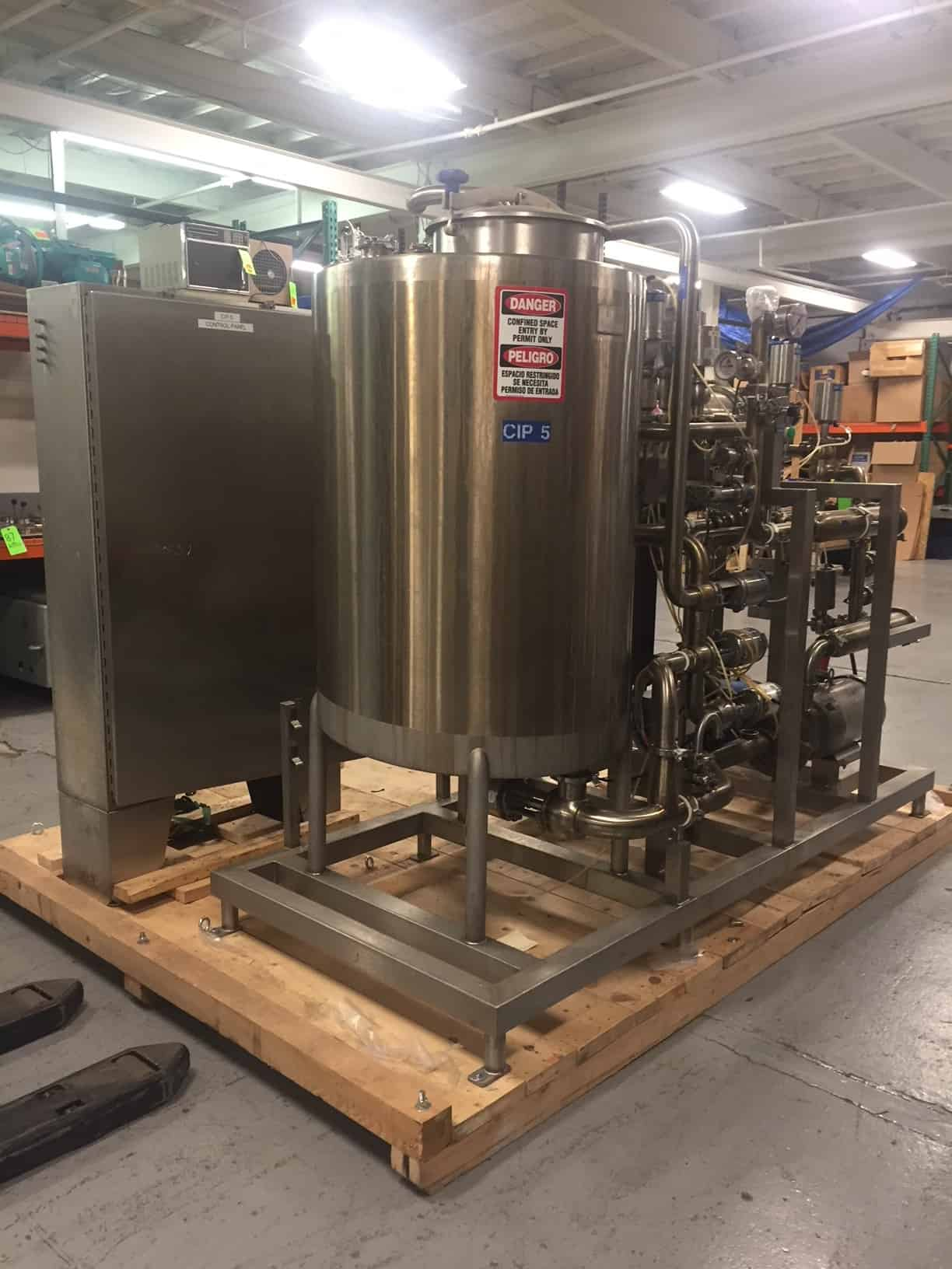 "Sani-Matic Skid Mounted S/S CIP System, Job #40737, Item # 01-200661, with 200 Gal. S/S Tank, 2011 Enerquip S/S Shell & Tube Heat Exchanger BN 10486, SN 12784, MAWP 150 psig @ 375 degree F, Fristam 10 hp S/S Centrifugal Pump, Endross Hauser 2"" Flow Meter with Read-Out, Inline Filter, Gea, WCB & Sudmo Air Valves, Check Valves, Temp Sensors, Gauges, S/S Enclosure with Allen Bradley Flex IO Controls, Foxboro Conductivity Meter, Solenoids & Breakers Mounted in S/S Enclosure, (CIP Dim. 9 ft L x 4 ft W x 85"" H), Skid Dim. 10 ft L x 90"" W x 90"" H)"