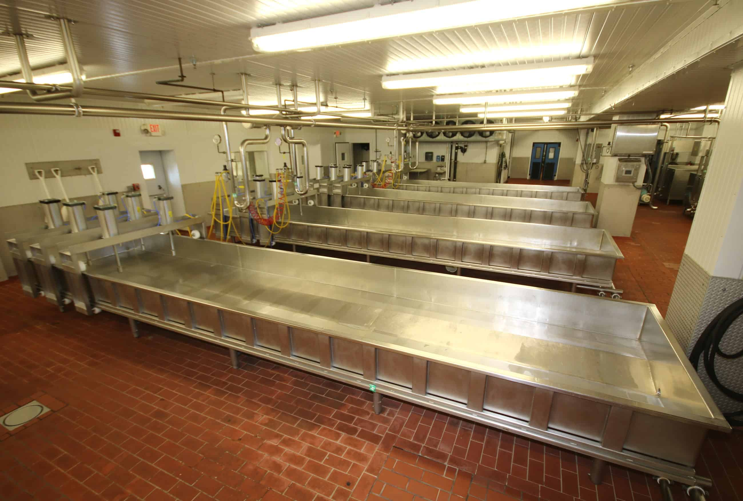 "(5) Kusel 24 ft L x 5 ft W x 14"" H, (Aprox. 1,000 Gal), S/S Cheese Pressing Vats, Model SWPV, SN 0410SWPV46014-6-1, 2, 3, 4 & 5, All with 3 - Station @ 2 Cylinder Top Mount Vertical Pneumatic Presses"