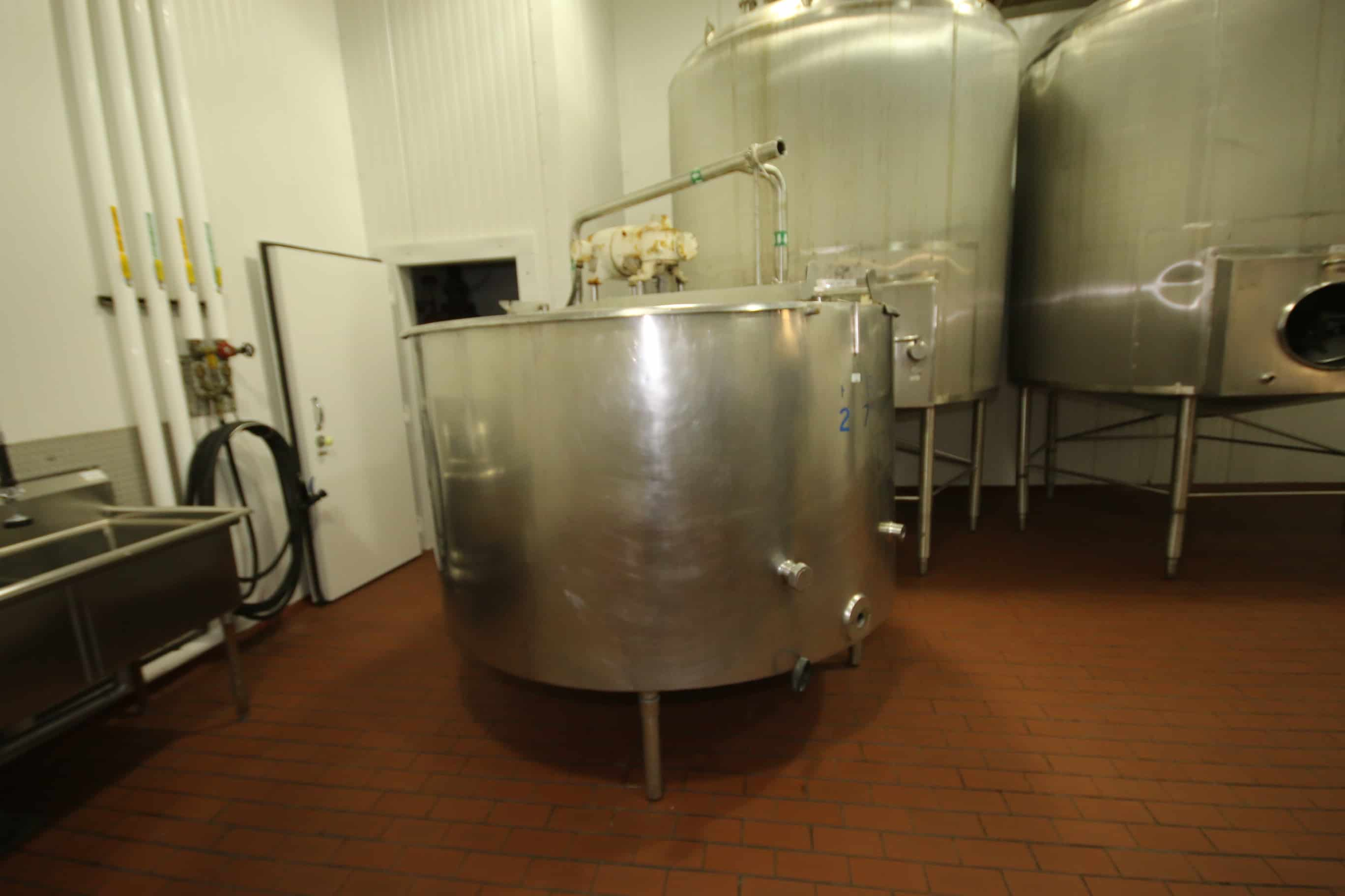 600 Gal. Jacketed Hinged Lid S/S Tank, with Bottom Sweep Agitator, Dual Baffles & Sprayball