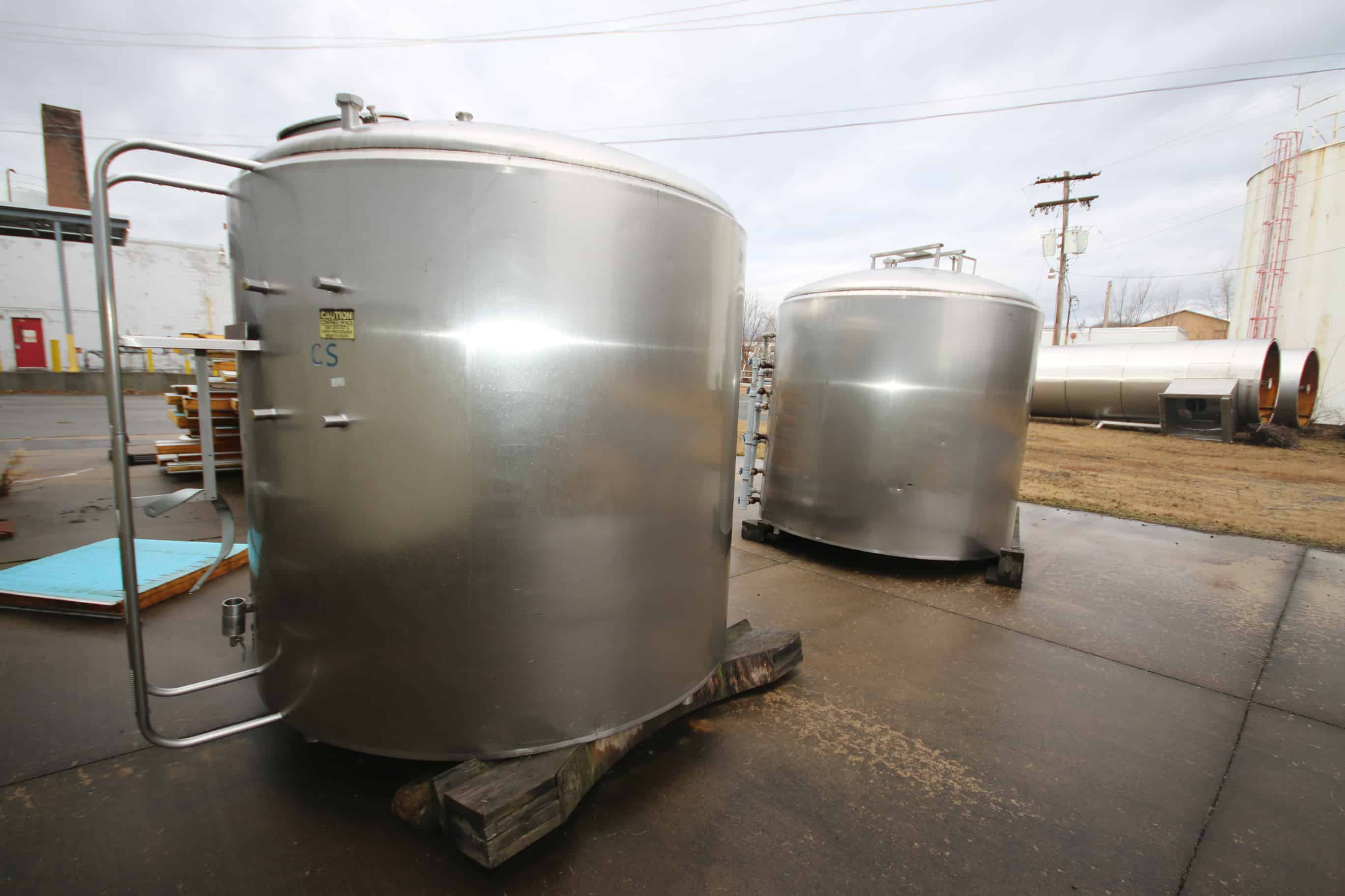 (2) Cherry Burrel 1,500 Gal Dome Top S/S Processors, Model MEPDA, S/N 1500-73-1910 & 11, (Note: No Agitation), (Uninstalled)