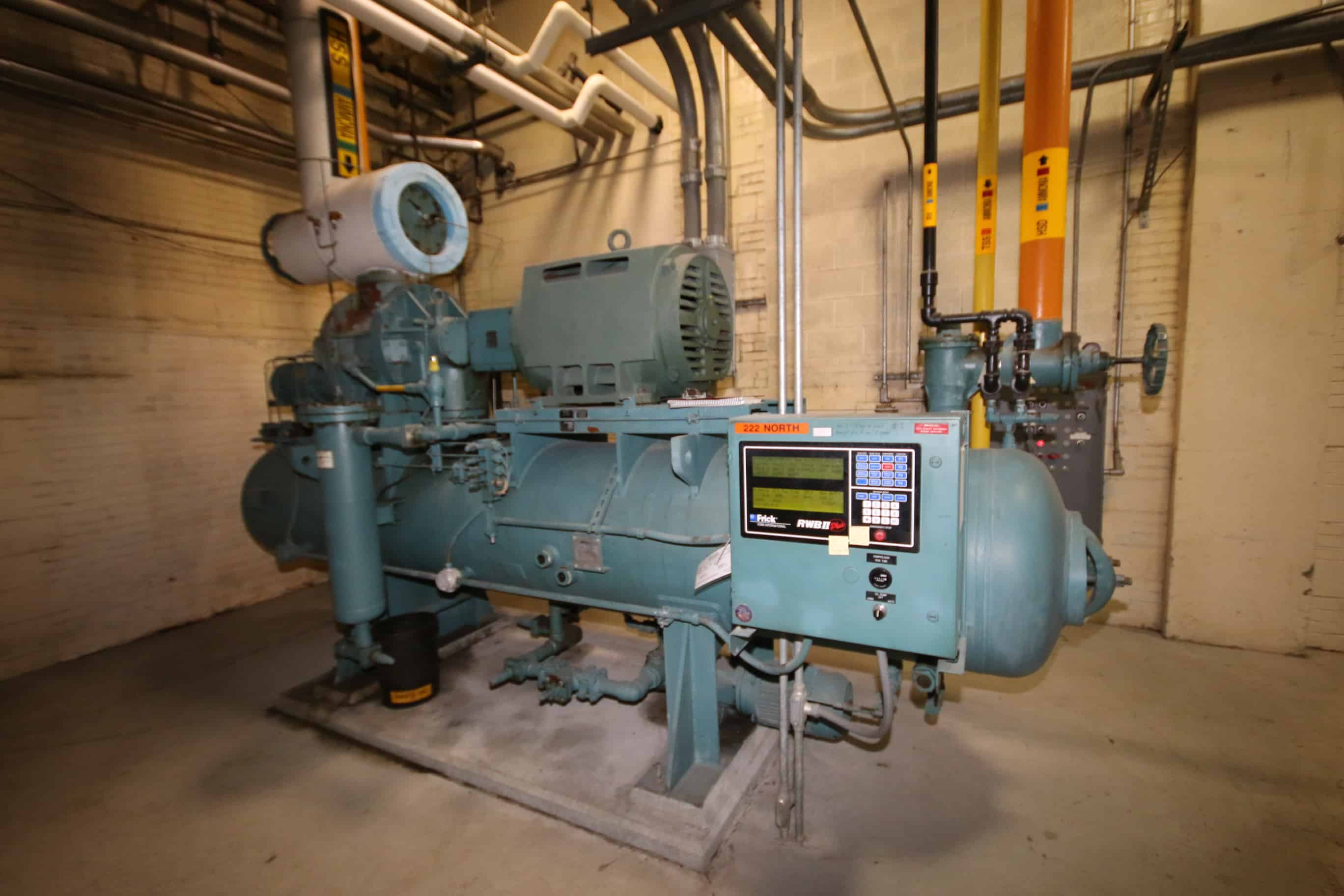 Frick 500 hp Screw Ammonia Compressor, Frame Model RWBII222H, SN S06000FMCTHAA0, Screw Model/SN TDSH233L1954F, with 3570 RPM Motor, RWBII Plus Touch Screen Controls & Ram Starter, 460V 3 Phase, (Unit 222 North)