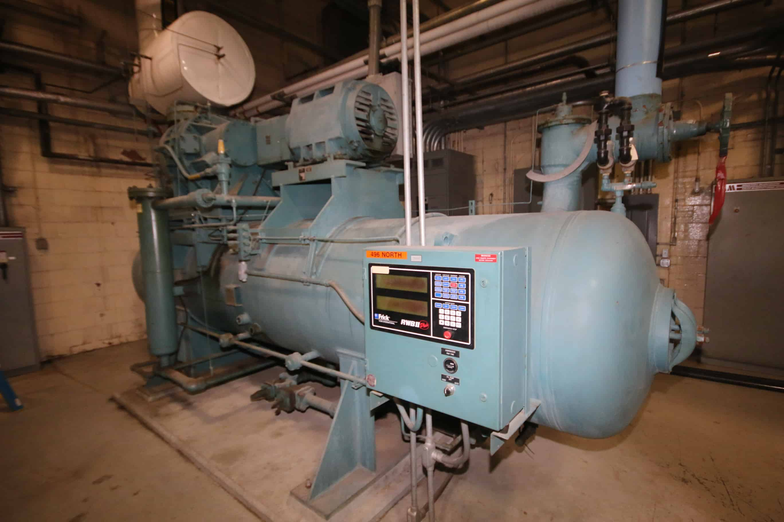 Frick 300 hp Screw Ammonia Compressor, Frame Model RWBII496B, SN S006IQFMFPHAA03, with 3570 RPM Motor, RWBII Plus Touch Screen Controls & Ram Starter, 460V 3 Phase, (Unit 496 North) Starter, 460V 3 Phase, (Unit 496 North)