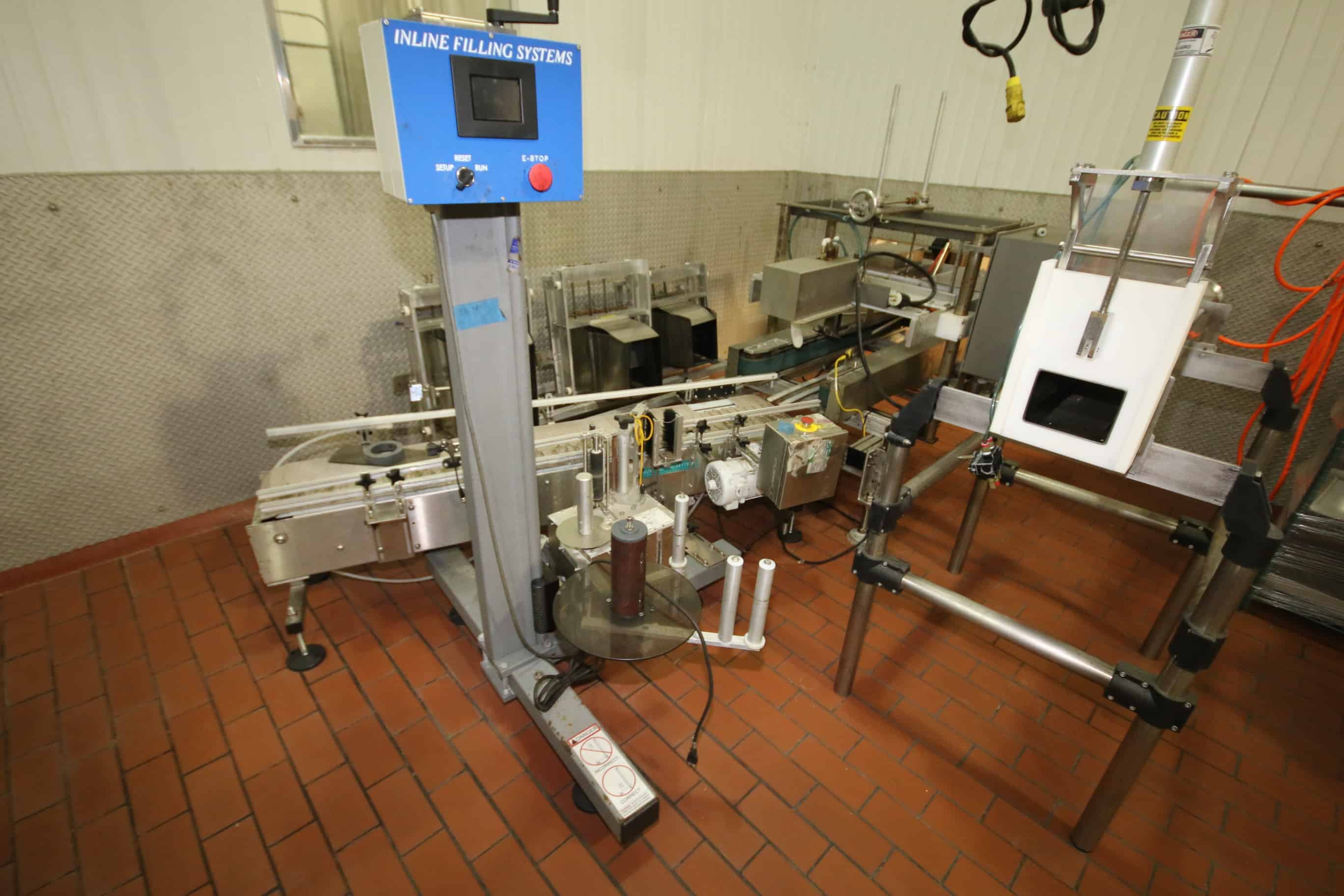 (2) Inline Filling System Pressure Sensitive Labelers