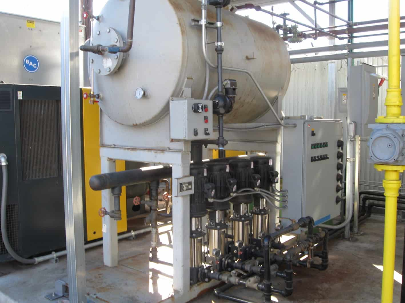Boiler Feedwater System with (4) Grundfos Pumps; Steam Manifold/Distribution System; Condensate Pump; Blowdown Tank