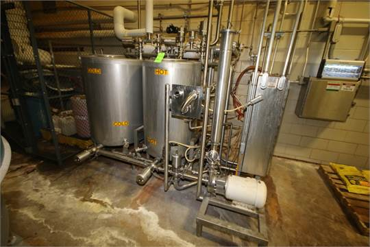 2011 Skid-Mounted 2-Tank CIP System with (2) ~300 S/S Tanks, Alpha Laval 10 hp Pump