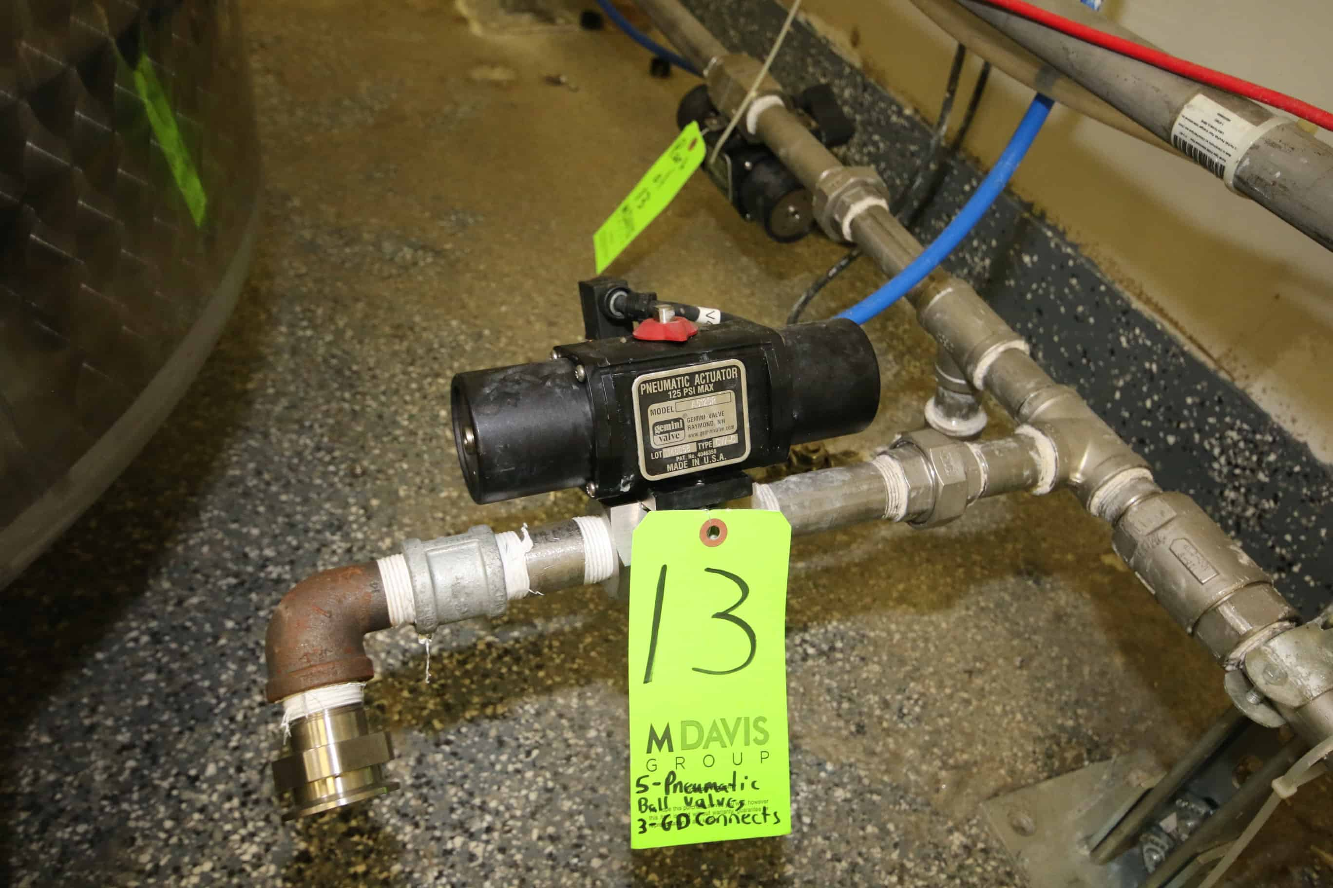 (5) Gemini Pneumatic Actuator Ball Valves, M/N A512SR, with (3) Gardner Denver Compressed Air Connection Stations