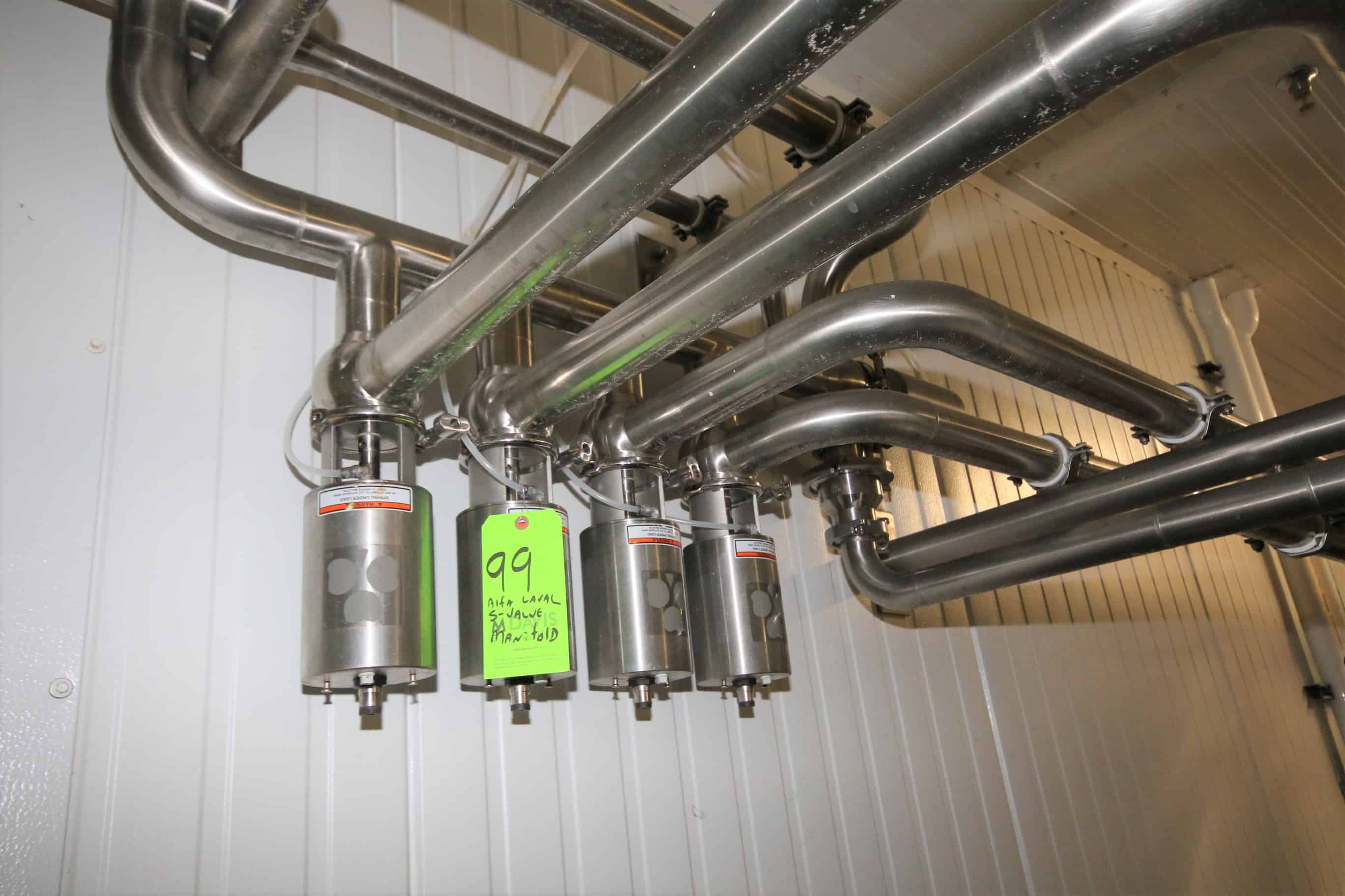 """Alfa Laval 2-1/2"""" Air Valve Manifold,includes ~80 ft. Installed S/S Piping for Kusel Cheese Vats"""